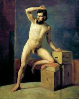 "Nude Male Standing w/ Boxes 8.5x11"" Photo Print Gustav Klimt Naked Man Fine Art"