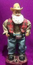 Dancing Singing Rocking Musical Cowboy Santa Christmas Figurine 13 3/4 in Vtg