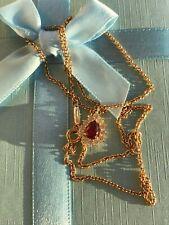 TIFFANY & CO NECKLACE RUBY & DIAMONDS PENDANT 750 GOLD LADY 4.9gr SIZE:18.3 inch