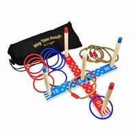 Wooden Ring Toss Game Set for Children and Family - Indoor,Outdoor,Lawn,Party