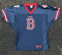 Vintage Lee Sports Navy Blue Boston Red Sox MLB Football Jersey Size Large