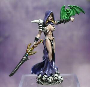 Painted Metal Reaper Miniature Female Necro with Dragon D&D Pathfinder Fantasy