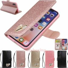 For iPhone 11 Pro Max XR 6s 7 8 SE Bling Glitter Leather Flip Wallet Case Cover