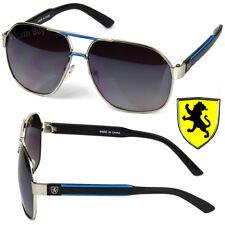 New Khan Eyewear Mens Designer Fashion Sunglasses Shades Retro Metal Silver Blue