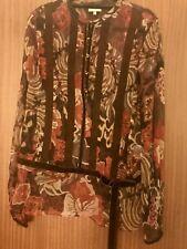 KAREN MILLEN - Brown Floral Silk Tunic Top - size 10