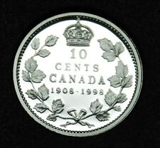 1908-1998 Canadian 10¢ sterling silver 90th anniversary proof finish