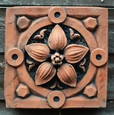 """Victorian decorative brick copy antiqued terracotta wall tile """"Lily"""""""
