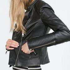 Black  Women Faux Soft Leather Jackets Blazer Zippers Coat Motorcycle Outerwear