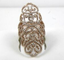 Long Tall Diamond Filigree Cluster Cocktail Ring Band 14k Rose Gold 2.11Ct