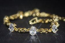 7 x Created Oval Diamond Yellow Gold Bracelet 17.5cm/ 6.88inches