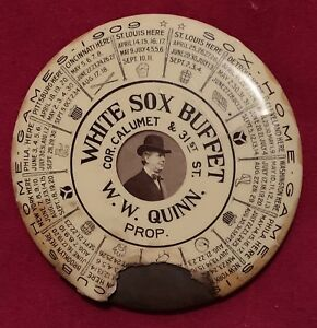 1909 Chicago White Sox & Cubs Schedule Advertising Pocket Mirror w Comiskey Old