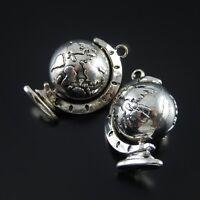 4pcs Vintage Silver Alloy Mini Globe Look Pendants Charms Crafts Jewelry 52112