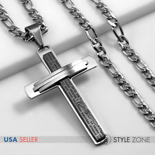 Silver Cross Pendant Nk Necklace 2A Men Stainless Steel Bible Scripture Black &