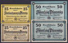 Notgeld Eckartsberga 2x 25, 2x 50 Pfennig Scheine 1921, Sammlung, Lot