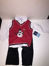 GREAT GUY Baby Boys' Snowman Sweater Vest/Shirt/Pants Set RED/WHITE/BLUE 24M NWT