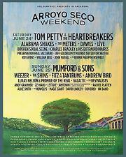 "TOM PETTY & THE HEARTBREAKERS ""ARROYO SECO"" 2017 PASADENA CONCERT TOUR POSTER"