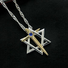 0.05 ct Sapphire Star of David With Cross Pendant 14k Two Tone Gold Over