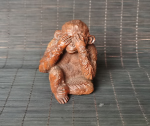 Collect Japanese old boxwood hand carving Lovely monkey statue Netsuke figurines