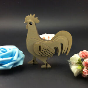Wood 3D Jigsaw Puzzle Model Set Rooster Cock Shape Easter Decor Kids Gift