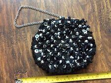 RETRO VINTAGE BLACK SILVER BEADED EVENING HAND CLUTCH BAG party HANDBAG PURSE