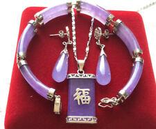 Schmuckset - lila Jade Armband Ohrringe & Anhänger
