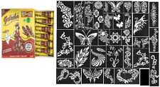 12 Golecha traditional henna color Quick Dry tatoo cone Body Art+32 stencil free