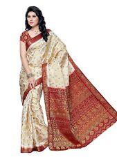 Mujer Seda Sari (65-Hlfwhitemarun, Multicolor, Tamaño Libre)