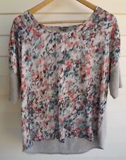 Katies Women's White Pink Blue & Grey Top - Size M
