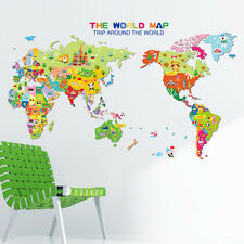 Animal World Map Wall Decal Kids Nursery Room Home Decor Removable Art Sticker