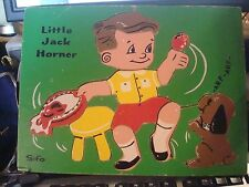 Little Jack Horner vintage Sifo wood board puzzle WITH ARF-ARF The Puppy RARE