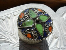 Moroccan small round enamel blue tin pot
