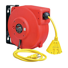 Garage Electrical Extension Power Cord Reel Retractable Cable Case Portable 40ft