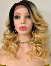"""long blonde mix curly Wavy Layered lace front wig Ombré Dark Roots 18"""" Medium"""
