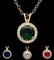 1ct Round Gemstone Halo Birthstone Created Diamond Pendant Solid 14k Yellow Gold