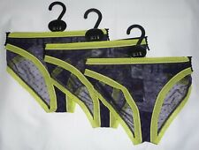 NEW 3 PAIRS LADIES EX-TOP SHOP NAVY & LIME MESH BRIEFS/KNICKERS SIZES UK 8 & 10