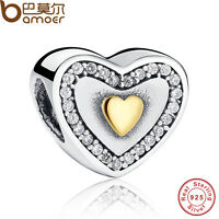 Shining S925 Sterling Silver Heart Charm With Gold LOVE CZ For European Bracelet