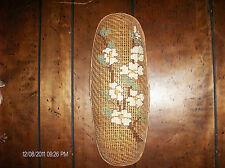 Oval Shape Yarn Cross-Stitched Dogwood Flowers Wall Hanging Basket Decor