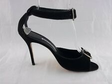 $845 Manolo Blahnik Black High Heels Ankle Strap size 41 11 Leather Sandal Shoes