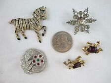 Vintage Lot of 5 Rhinestone Zebra Frogs Snowflake Floral Pins Brooches