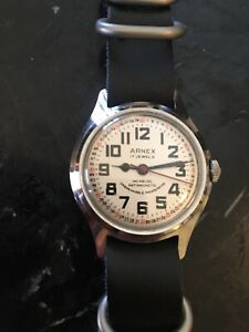 Arnex Swiss 17 Jewel Railroad Watch Excellent Working Condition Montgomery Dial