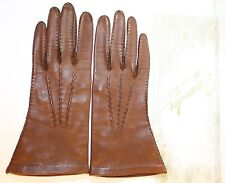 vintage Luxury Womens Leather gloves by Crescendoe ? Brown Size 6