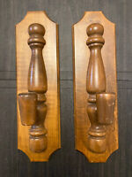 "Pair Of Wooden Wall Sconces/Candle Holders Vintage 14.5"" Rustic Boho Natural"