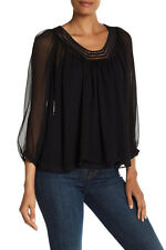REBECCA TAYLOR CHIFFON LACE SILK BLOUSE TOP SHIRT BLACK SIZE 4