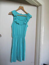 Knee Length Green Frilly Sleeveless New Look Dress in Size 12
