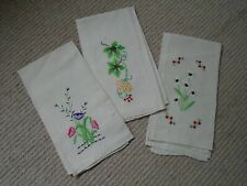 3 Cream linen beautifully embroidered decorative hand towels
