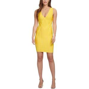 Guess Womens Yellow Open Back V-Neck Party Bodycon Dress XL BHFO 7233