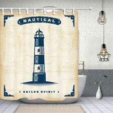 Sea lighthouse Bathroom Shower Curtain Fabric w/12 Hooks 71*71inches