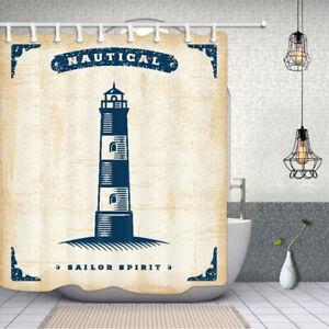 Sea lighthouse Bathroom Shower Curtain Fabric w/12 Hooks 71*71inches