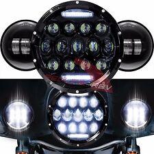 "Black 7"" Daymaker White LED Headlight + Auxiliary Fog Spot Passing Lights Harley"