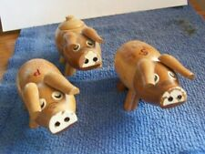 Wood Pigs Salt & Pepper Shakers with Sugar Dispenser